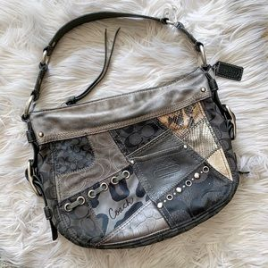 Coach Metallic Patchwork Leather Shoulder Purse